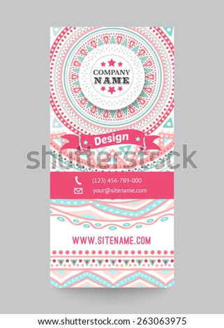Corporate identity template with doodles tribal theme. Vector illustration for pretty design. Ethnic vintage patterns. Pink, blue and white colors. Border, frame, icon elements. - stock vector