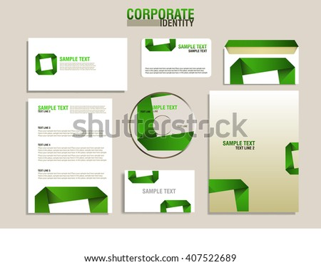 Corporate identity template with green detail - stock vector