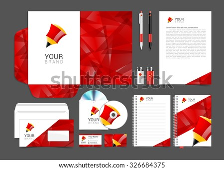 corporate identity template with red elements pencil. - stock vector