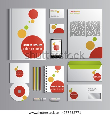 Corporate identity template with red orange and green elements. Vector company style for brandbook and guideline. EPS 10 - stock vector