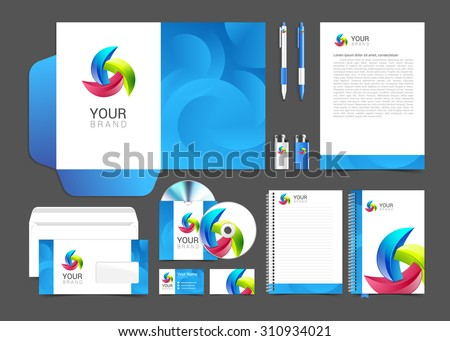 corporate identity template with round elements company style brandbook. - stock vector