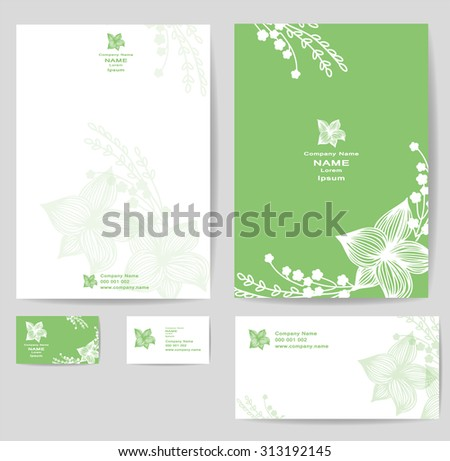 Corporate identity template with vintage flowers. Vector company style for brandbook and guideline