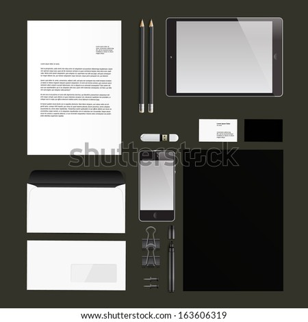 Corporate identity templates:blank, business cards, disk, envelope, smart phone, pen, badge, cup, brand-book, portable console, tablet pc. Isolated with soft shadows. Vector  illustration.  - stock vector