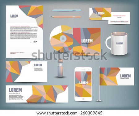 Corporate identity templates: blank, business cards, disk, envelope, smart phone, pen, pencil, flag, cup, usb flash driver. Isolated with soft shadows. Vector illustration. - stock vector