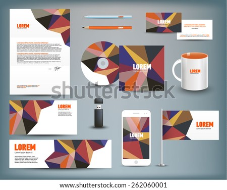 Corporate identity templates blank business cards stock vector corporate identity templates blank business cards disk envelope smart phone reheart Gallery