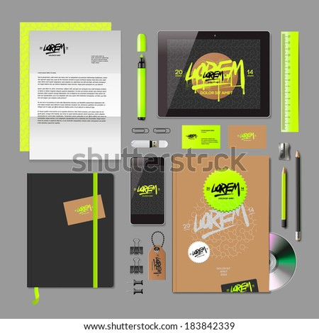 Corporate identity templates:blank, business cards, disk, notepad, smart phone, pen, badge, stationery, brand-book, portable console, tablet pc. Vector illustration.  - stock vector