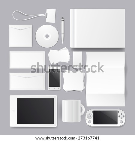 Corporate identity templates. Corporate identity templates:blank, business cards, disk, envelope, smart phone, pen, badge, cup, brand-book. With soft shadows - stock vector