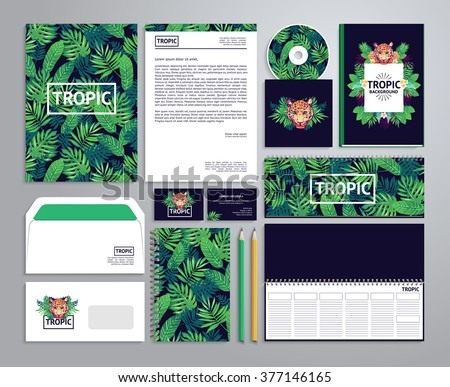 Corporate identity templates in tropical style with notepad, disk, package, label, envelope etc. - stock vector