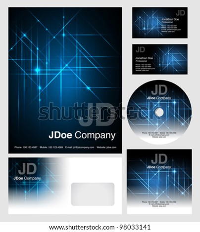 corporate identity templates - vector - editable business cards design, letterhead, brochure cover, cd dvd cover - stock vector