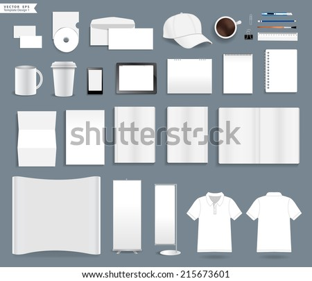 Corporate identity templates, With blank name card, envelope, mugs, mobile phone, tablet, calendar, notebook paper, folded paper, open book, exhibition banners stands, polo shirt, Vector illustration  - stock vector