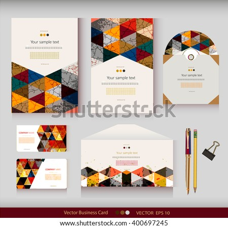 Corporate Identity.Vector templates.Geometric pattern.Envelope,cards,business cards,tags,disc with packaging,pencils,clamp.Branding design.Business stationery.With place for your text