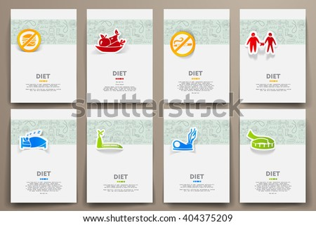Corporate identity vector templates set with doodles diet theme - stock vector