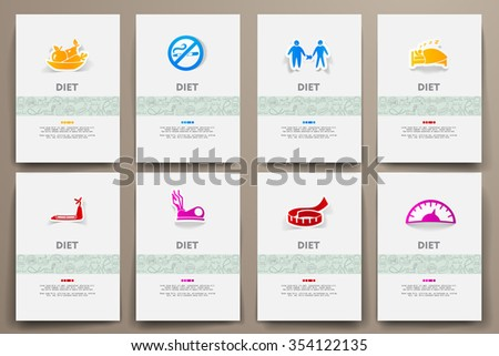 Corporate identity vector templates set with doodles diet theme. Target marketing concept - stock vector