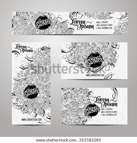 Corporate Identity vector templates set with doodles easter theme - stock vector