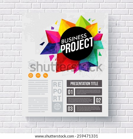 Corporate Identity Web Template, with Artistic Graphic Design on Top, on a White Brick Wall Background. Vector illustration. - stock vector