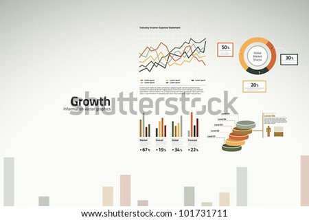 Corporate infographics - growth in graphs, statistics and graphics - stock vector