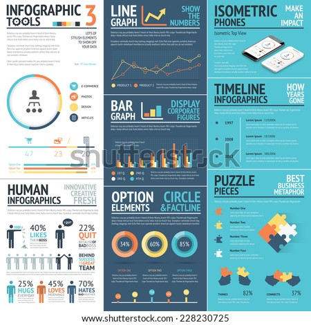 Corporate infographics vector elements in flat business colors - stock vector