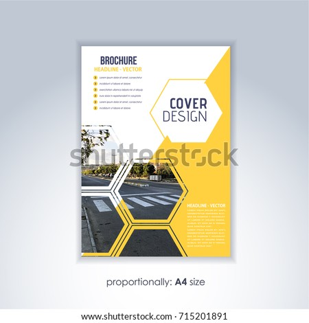 Corporate Leaflet, Textbook Cover. Image Add Feature Print Ready Business Pamphlet Design, Multicolored Brochure, Booklet Template. A4 Flyer Document and Vector Background
