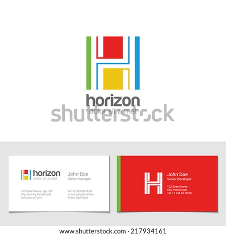 Corporate Logo H Letter company vector design template. Logotype with identity business visit card. - stock vector