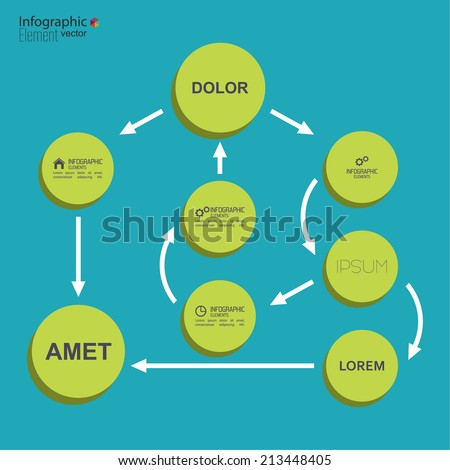 Corporate organization chart template with round elements. flat design. algorithm of action and choice - stock vector