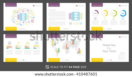 Corporate presentation vector template. Modern business presentation graphic design. Power point layout with diagrams and charts. Marketing kit visualization template. Easy to use, edit and print.  - stock vector
