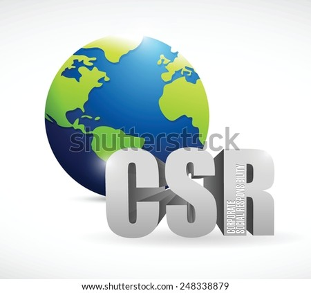 corporate social responsibility globe sign illustration design over a white background - stock vector