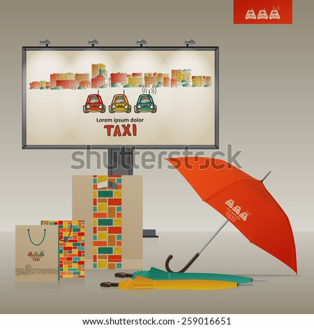 Corporate style - a billboard, an umbrella, packages. City and taxi. Vector.