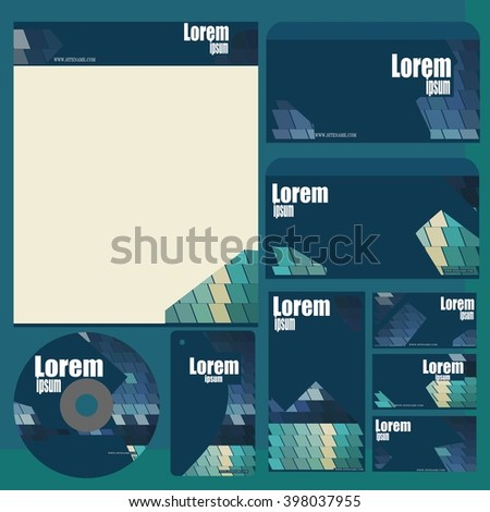 Corporate style - blue - green  vector patterns - Document folders, letterhead, disk, envelope, brochure - Branding