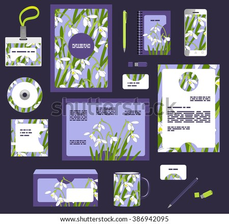 Corporate style business templates. Set of spring floral design - stock vector