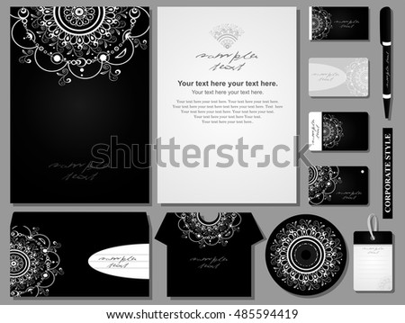 Corporate style. 11 various templates in strict design with white decorative lace on a black.