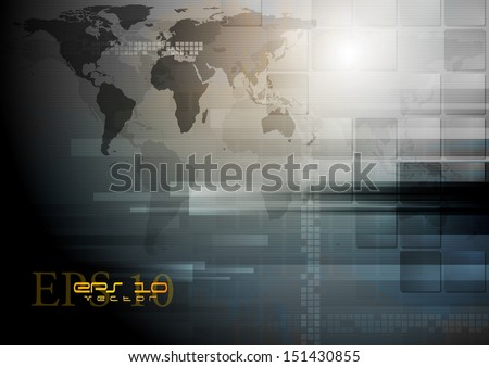 Corporate technology vector world map backdrop - stock vector