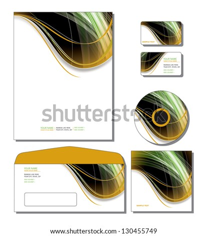 Corporate Template Vector - letterhead, business and gift cards, cd, cd cover, envelope. Eps10. - stock vector