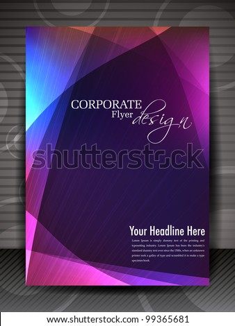 Corporate transparent flyer, banner or cover design with colorful abstract design in bright colors and space for your text. EPS10, Vector Illustration. - stock vector