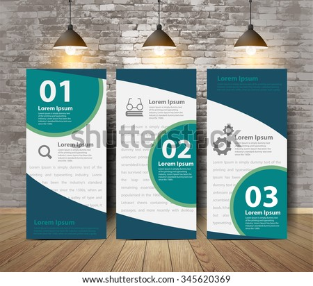 Corporate Tri Fold Brochure poster in crack brick wall and wooden floor room, Inspiration concept modern design template workflow layout, diagram, numbers step up options banners, Vector illustration
