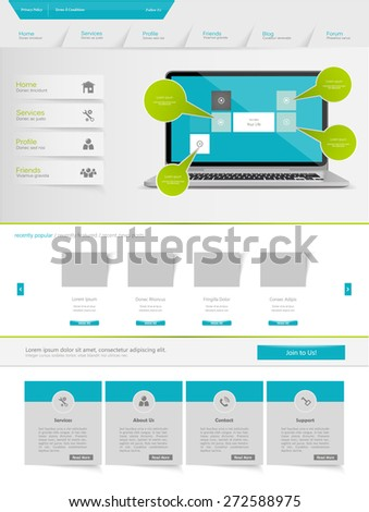 Corporate Website Template Design Vector Eps 10 - stock vector