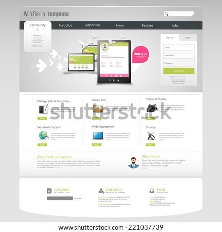 Corporate Website Template - eps10 Vector Design  - stock vector