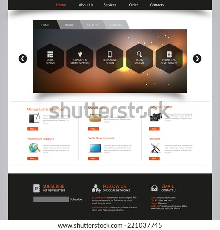 Corporate Website Template - eps10 Vector Design  - stock vector