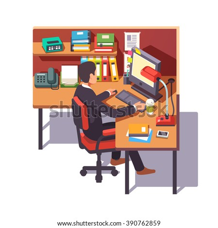 Corporate worker clerk doing his job sitting on chair at the office cubicle desk. Flat style color modern vector illustration. - stock vector