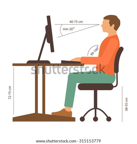 correct back sitting position, vector illustration, posture - stock vector