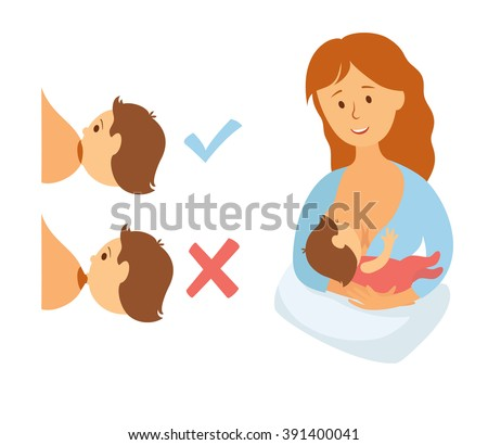 Correct breastfeeding position. Mother feeds baby with breast. Correct and incorrect pose for feeding child. Mom lactation infant milk. Woman breastfeed baby in right poses. Cartoon vector - stock vector