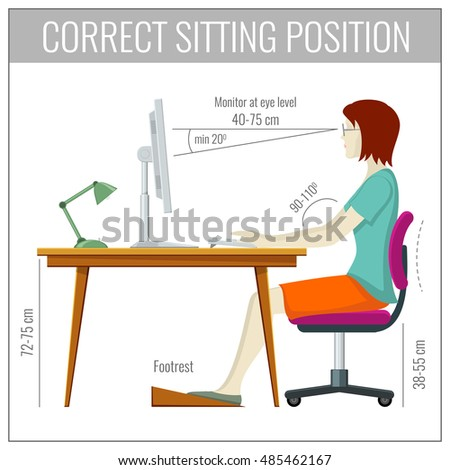 Correct Spine Sitting Posture Computer Health Stock Vector