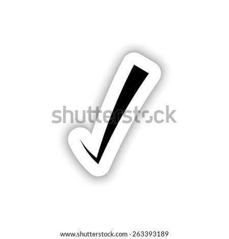 Correct symbol icon on a white background with shadow - stock vector
