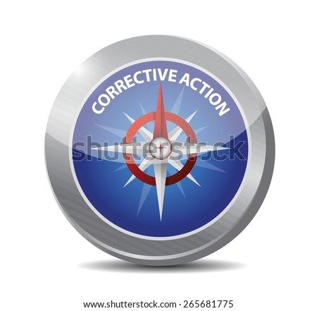 corrective action compass sign illustration design over white background