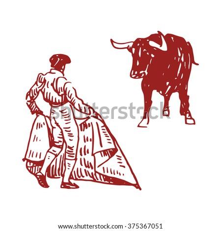 Corrida Bullfighting In Spain A Torero Awaiting For The Bull Hand Drawn On