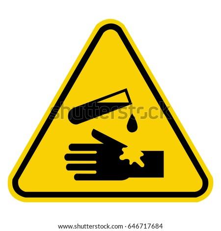 Corrosive Warning Sign Chemical Hazard Sign Stock Vector 646717684