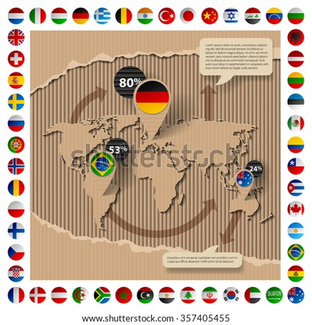 Corrugated cardboard business template with world map and state flags. Web page design. Vector illustration - stock vector