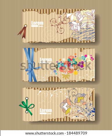 Corrugated cardboard with drawn flowers. Card - stock vector