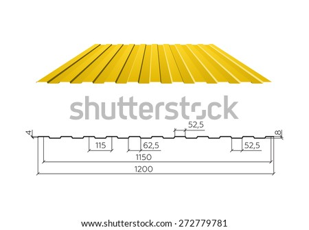 Corrugated Roofing Panel (corrugated Metal Siding, Profiled Sheeting),  Vector Illustration