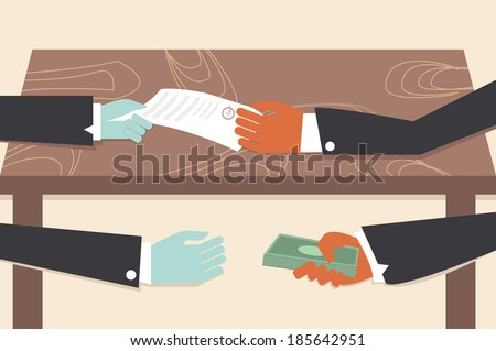 Corruption drawing illustrator conceptual cartoon. - stock vector