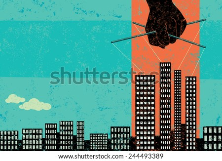 Corruption in Business Businesses growing through corruption. The puppeteer hand and skyline are on a separate labeled layer from the background. - stock vector